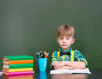 Calm boy in classroom.  Royalty Free Stock Image