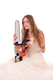 Calm bride with saw Stock Photo