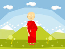 Calm buddhist monk Royalty Free Stock Image