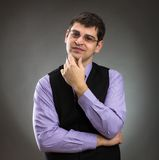 Calm businessman. Front view in studio Royalty Free Stock Photography