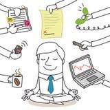 Calm businessman doing yoga, paperwork surrounding. Vector illustration of a monochrome cartoon character: Calm businessman doing yoga while paperwork chaos is Stock Photo