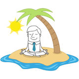 Calm businessman meditating on tropical island. Vector illustration of a monochrome cartoon character: Calm and relaxed businessman sitting and meditating on the Stock Photo