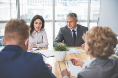 Calm businesspeople are talking in office Royalty Free Stock Image