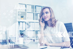 Calm businesswoman on phone, toned Royalty Free Stock Photography
