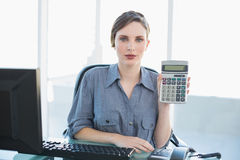 Calm businesswoman showing calculator sitting at her desk Stock Photography