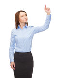 Calm businesswoman working with virtual screen Royalty Free Stock Images