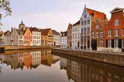 Calm canal streets in Bruges Stock Photography