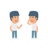 Calm Character Activist tells news to his friend. Poses for interaction with other characters from this series Royalty Free Stock Image