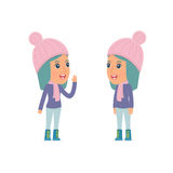 Calm Character Winter Girl tells news to his friend Royalty Free Stock Photography