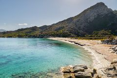 Sandy beach and coastline of Desert des Agriates in Corsica Royalty Free Stock Photos