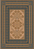 Calm coloring carpet with blue and brown shades. Elegant with  calm coloring carpet in oriental style with blue and brown shades stock illustration