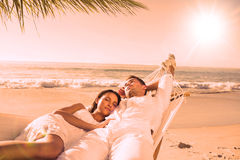 Calm couple napping in a hammock Stock Images