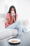 Calm cute brunette sitting on couch drinking from mug Stock Image