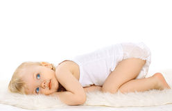 Calm cute dreaming child. Portrait calm cute dreaming child Royalty Free Stock Images