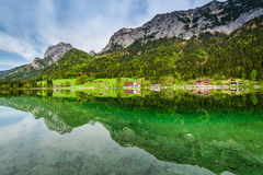 Calm dawn at Hintersee lake, Alps Stock Image