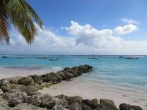 Calm day boats anchor Barbados Stock Image