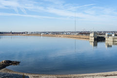 Calm day outside New Bedford hurricane barrier Stock Photography