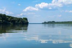 Calm Dunav river near Belgrade. stock photography