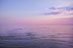 Calm evening beautiful sea, with beautiful flowers in the sky royalty free stock images