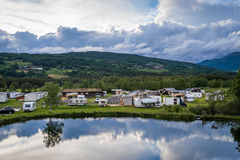 Calm evening at Norway camping Stock Images