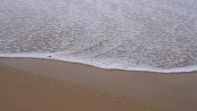 Calm evening ocean surf. Foamy waves fill the sandy beach. stock footage