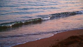 A calm evening sea waves beat on the sandy shore, close-up. stock footage
