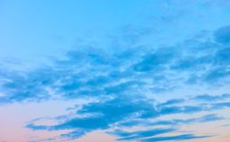 Calm evening sky with clouds stock image