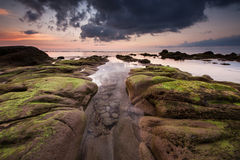 Calm evening at terongkongan Beach Kudat Stock Photos