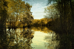 Calm fall landscape stock photography