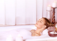 Calm female at spa Royalty Free Stock Images