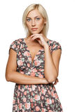 Calm female in summer dress Stock Photography