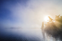 Calm Foggy Lake In The Morning Royalty Free Stock Photos