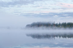 Calm foggy lake scape summer night Stock Image