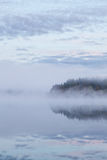 Calm foggy lake scape summer night Royalty Free Stock Images