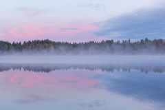 Calm foggy lake scape summer night Royalty Free Stock Photo