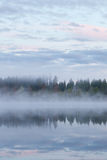 Calm foggy lake scape summer night Royalty Free Stock Image