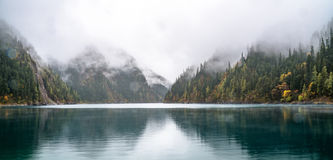Calm forest smooth lake with reflections Stock Photo