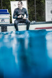 Calm Freediver Getting Ready to do his DNF Performance Stock Image
