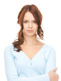 Calm and friendly woman. Bright picture of calm and friendly woman Royalty Free Stock Image