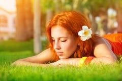 Calm girl enjoying day spa Royalty Free Stock Photo