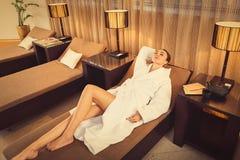 Calm girl enjoying spa treatment Royalty Free Stock Image