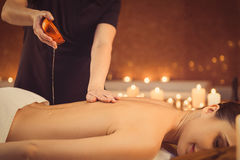 Calm girl getting treatment at wellness center Royalty Free Stock Image