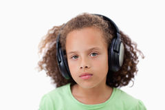 Calm girl listening to music Stock Image