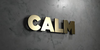 Calm - Gold sign mounted on glossy marble wall - 3D rendered royalty free stock illustration. This image can be used for an online website banner ad or a print royalty free illustration
