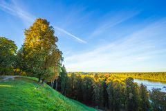 Calm evening summer landscape from Vytautas mound. Calm green evening summer landscape from Vytautas mound Royalty Free Stock Image