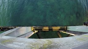 Calm green waves under pier in summer background. Video stock video