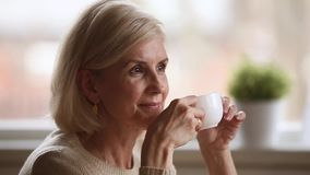 Calm happy old woman sitting alone holding cup enjoying coffee
