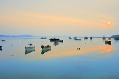 Calm harbour. The calm harbour illuminates down in the setting sun , scenery is very charming Royalty Free Stock Photo