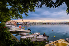Calm Harbour Before The Storm. Calm harbor during the evening before wind, rain and thundershower located in Cinarcik town of country Turkey. Cinarcik is a small Stock Image