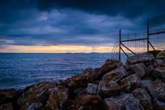 Calm Harbour Before The Storm. Calm harbor during the evening before wind, rain and thundershower located in Cinarcik town of country Turkey. Cinarcik is a small Royalty Free Stock Photography